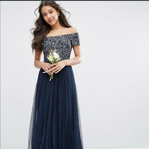 ASOS Maya Bardot Bridesmaid Dress: Navy Sequins